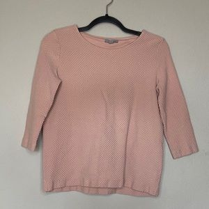 COS Pink Textured 3/4 Sleeve Top Small 6 8